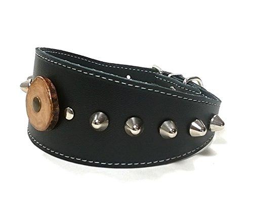 Superpipapo Original Collar Cuero Negro Galgos Pinchos