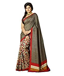 Glory Sarees Women's Silk Saree (kalapi27_gery and Beige)