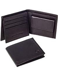 Linda Chiarelli portafoglio uomo vera pelle made in Italy blocco RFID. Piccolo portafogli con portamonete, porta tessere e carte di credito, scompartimento banconote, sottile e vintage. PORT992BK Nero