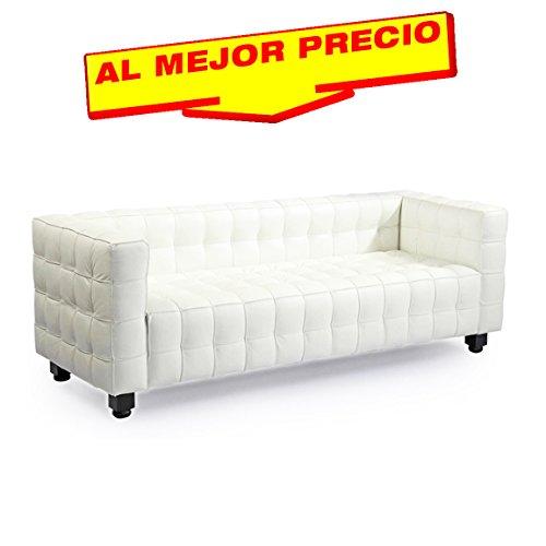 SOFA 3 PLAZAS DE DISEÑO MODELO MILTON TAPIZADO SIMILPIEL BLANCA- ESPECIAL SOFA 3 PLAZAS-¡AL MEJOR PRECIO!