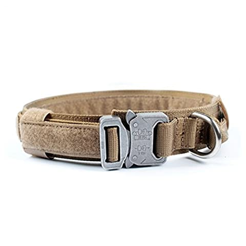 Yisibo Tactical Adjustable Dog Collar Nylon Metal Buckle Dog Training Collar with Control Handle 1.5'' Width for Medium Large Dog (Coyote Brown, 1.5''M) - Impermeabile Collare Per Il Controllo
