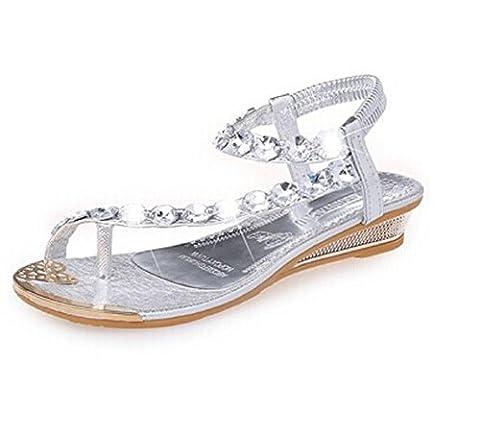 HENGSONG Femmes Chaussures en Strass Plat Avec Sandales Bohême Tong