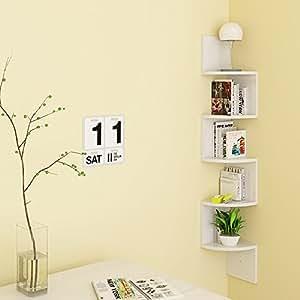 HOMFA Mensola da Muro di 5 Ripiani, Scaffale Libri Angolare a Parete Carico 15KG Bianco 20 × 20 × 123cm