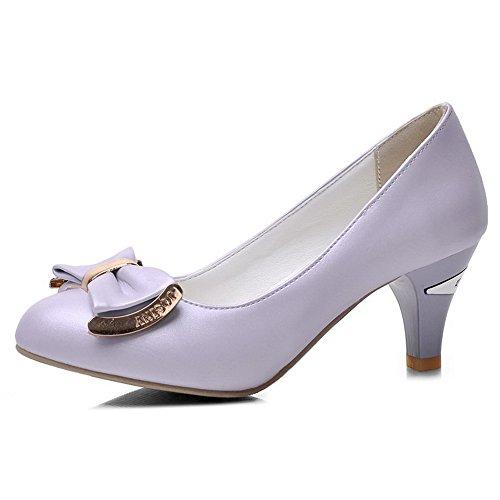 VogueZone009 Femme Fermeture D'Orteil Rond Tire Pu Cuir Couleur Unie à Talon Correct Chaussures Légeres Violet