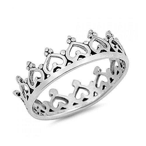 Plata ley forma corazón anillo corona - Tamaño
