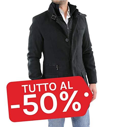 Cappotto Uomo Invernale Lana Elegante Sartoriale Nero Caldo Cappottino Classico Casual Giubbotto Lungo Giaccone Pesante S M L XL XXL