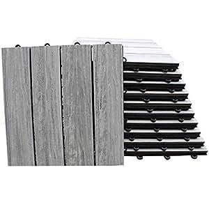 TOP MULTI WPC Holz Fliese 30x30cm für Terrasse und Balkon grau und braun Bodenfliese Klickfliese (grau)