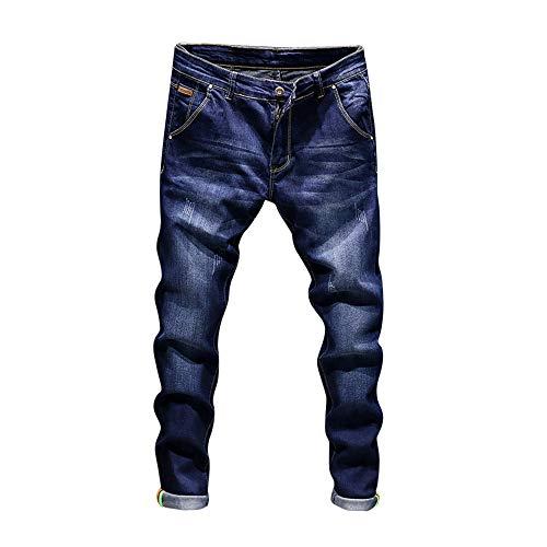 OSYARD Herren Straight Jeans Hose Stretch Stonewashed Jeanshosen Regular Slim, Casual Herbst Baumwolle Vintage Wash Hip Hop Arbeit Hosen Denim Hosen (EU-S/CN-30, Dunkelblau)
