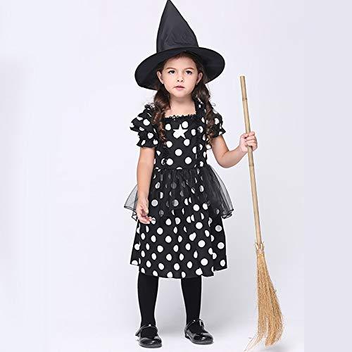 ROCK1ON Zauberschule Hexe Kleid für Mädchen, Kinder Halloween Karneval Rollenspiel Kostüm, Weihnachten Tanzparty, Cosplay Geschenk Geburtstag,Include Hut,Alter - Zauberschule Hexe Kostüm