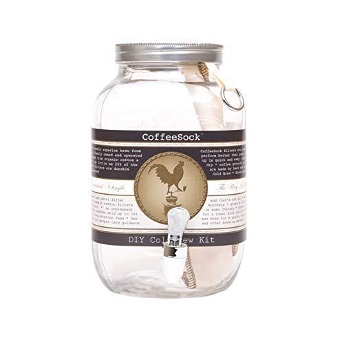 CoffeeSock Wiederverwendbarer Kaffeefilter aus organischer Baumwolle und Glas 128 Unzen - 1 Gallone Natürlich -