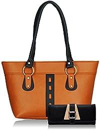 Fristo Women Handbag And Wallet Combo(FRWC-053)Tan And Black