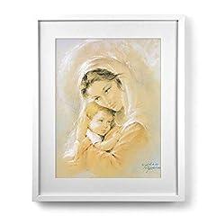 Idea Regalo - LibreriadelSanto.it Quadro Madonna col Bambino Arancione di Parisi con passe-partout e Cornice Minimal