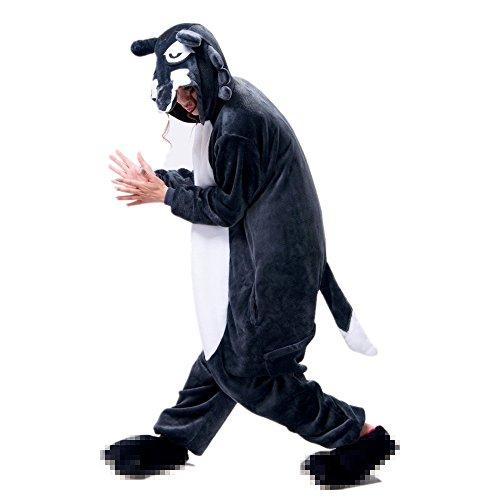 Tierkostüme (Misslight Wolf Pyjama Damen Kostüme Jumpsuits Tieroutfit Tierkostüme Schlafanzug Tier Sleepsuit mit Wolf festival tauglich Erwachsene(S,)