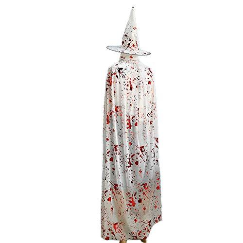 Kostüm Frauen Braut Monster Sexy - Meiju Unisex Umhang Kleid mit Kapuze Lange Cape Vampir Kostüm Halloween Erwachsener Damen Cosplay Umhang Prop für Halloween Masquerade (140*140cm,Weiß)