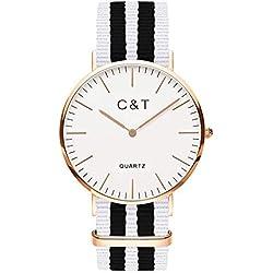 C + T Watch C5T Gold Nylon Nato Strap Black/White