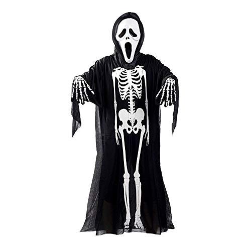 MAXGOODS Halloween Cosplay Erwachsene 120cm Schwarz Schädel Geist Kostüm + Teufel Schreiende Maske + Handschuhe (Kostüm Schwarzer Geist)