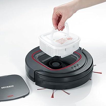 Severin Chill RB 7025 Robot Aspirapolvere, Autonomia 90 min, Sensore riconoscimento scalini, Silenzioso, Sensorclean, 17 W, 0.35 litri, 65 Decibel, Pulisce 100 mq in 90 min, Plastica, Nero
