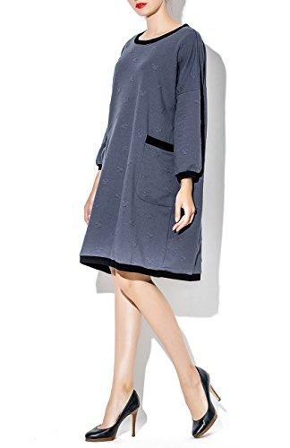 ELLAZHU Damen Herbst Winter Locker Rundhals Taschen Kleid SZ371 Grau