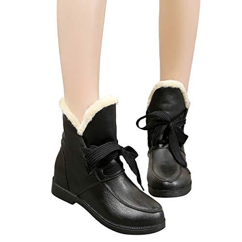 BHYDRY Schuhe Damen Stiefeletten Blockabsatz Chelsea Stiefel Flache Schuhe Martain Boot PU Warm Halten SchnüRschuh Wasserdicht Schuhe(37 EU,Schwarz)