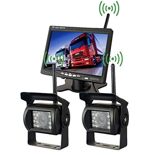 """TAFFIO® LKW Bus Hänger Funkkamera HD CCD Nachtsicht Rückfahrkamera Kabellos + 7\"""" Monitor"""