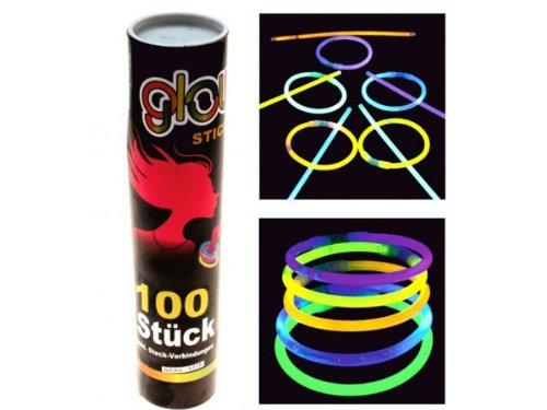 Alsino 100 Leuchtstäbe Knicklichter Neon Farben Knicklicht Party Glow Stick Leuchtstab Armband Kette
