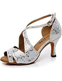 JSHOE Damen Latin Dance Schuhe Salsa/Tango/Tee/Samba/Modern/Jazz Schuhe Sandalen High HeelsGrey-heeled6cm-UK3...