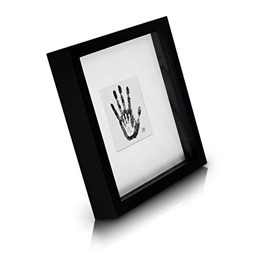 Tiefer quadratischer Box-Bilderrahmen aus Echtholz - Schwarz - 23x23 cm und 4,5 cm tief - Glasscheibe - mit 10x10 cm Passepartout - 3d Objektbilderrahmen - Rahmenbreite 2cm! (Zitate Bilderrahmen)