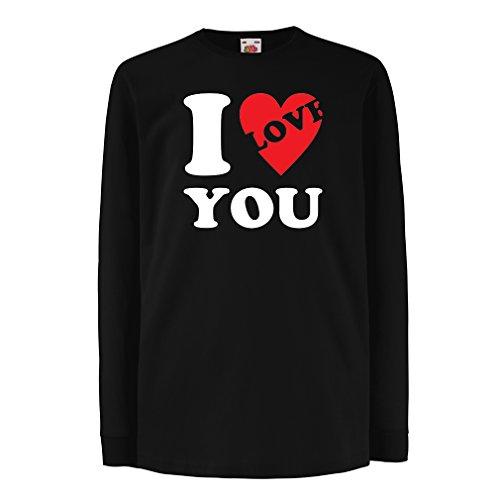 Kinder-T-Shirt mit langen Ärmeln Ich liebe dich! - Valentinstag Geschenke (5-6 years Schwarz (Jungen Hobo Kostüme Für)
