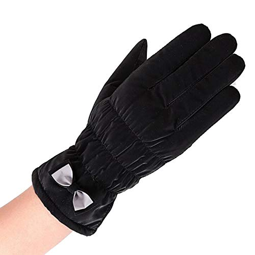 Small-shop-gloves Damen Handschuhe mit Fliege aus Plüsch, für den Winter, Outdoor-Sport, warm, Winddicht, Cartoon-Bären-Design, Damen, B Black, Einheitsgröße -