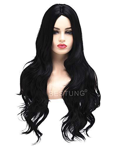 BESTUNG Lange lockige wellenförmige Perücken für Frauen Damen Synthetisches Volles Haar Natürliche Schwarze Brünette Perücke mit Pony für Cosplay oder Alltag(EINWEG)