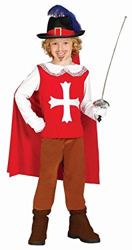 Frankreich Kostüm Für Jungen (KINDERKOSTÜM - MUSKETIER - Größe 110-115 cm ( 5-6 Jahre ), Verfilmung Frankreich König Kardinal 15. 16.)