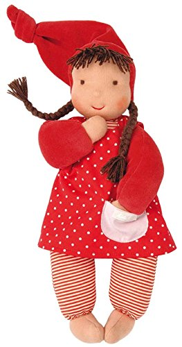 Käthe Kruse Stoff-Baby Puppe Schatzi mit Zipfelmütze in der Farbe Rot (Für 1-jährigen Baby-puppen)
