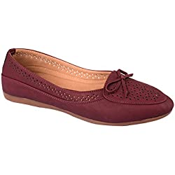 FashMak Women's Maroon Faux Leather Ballerinas - 8 UK