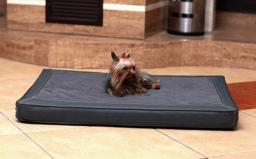 tierlando® Carlos VIP Ortho-MEDIC LUXUS - CA3-AL-02 - Orthopädische Visko Matte Hundebett von TIERLANDO Gr. M 80cm - Kunstleder VELOURS Grau Graphit