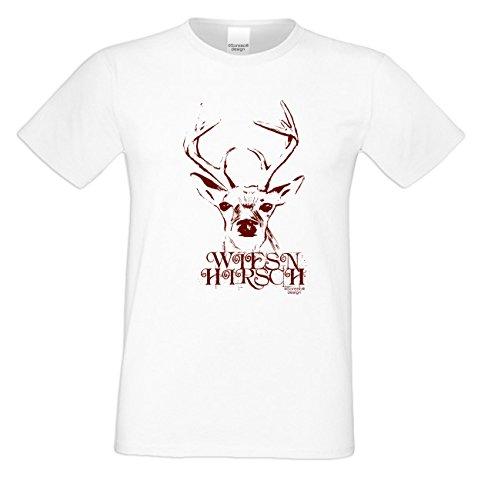 Wiesn - Hirsch ::: Herren T-Shirt mit lustigem Fun-Sprüche-Motiv Geweih Wild Volksfest Oktoberfest Trachtenshirt Farbe: weiss Weiß