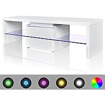 vidaXL Mesita para TV color blanco brillante con luces LED, 150 cm
