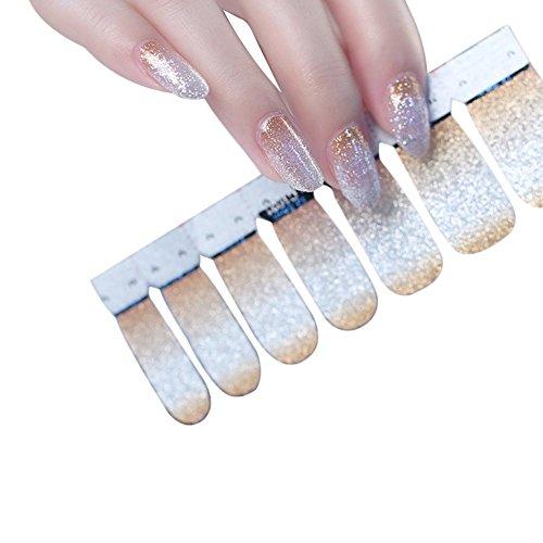 Cosanter Glitzer Nagelaufkleber Nail Art Aufkleber DIY Nagelspitzen, 1 Blatt 14pcs Nagelkunst Aufkleber Zubehör (Gelb)