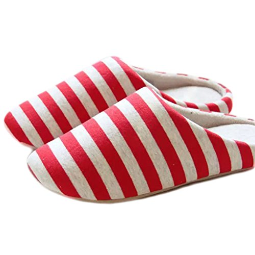 Fortuning's JDS Unisex adulti coppia accogliente cotone Casa Calzature stile semplice Stripe confortevole Flatform pantofole Rosso