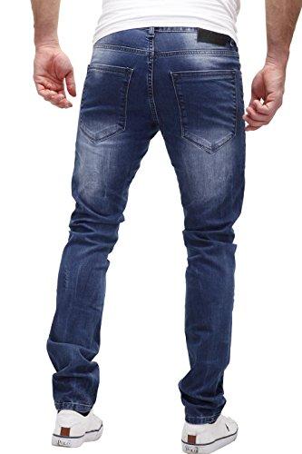 Merish Jeans Herren Stiched Paint Design Udes-Look Destroyed J2076 Blau