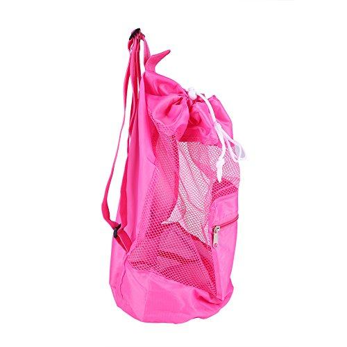 Rucksack Faltbar Tasche Kindermaschen Strandspielzeug Tasche Strandtasche Kordelzug tragbare große Tasche für Sandspielzeug Wasserspielzeug Rücksack Beutel für Kinder (Rosa) -