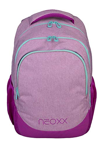 neoxx Fly Schulrucksack You Glow Girl! - Rucksack für die Schule, Leichter Schulranzen als recycelten PET-Flaschen, Schultasche für Mädchen und Jungen