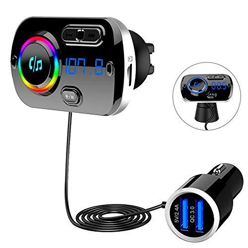 Bluetooth 5.0 FM Transmitter, SONRU Auto Bluetooth Radio Transmitter Freisprecheinrichtung KFZ Audio Adapter MP3 Player mit QC3.0 USB Auto Ladegerät, Unterstützungs TF Karten AUX Ausgang, 7 Farblicht -