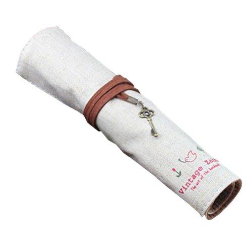 OFF-WHITE Vintage-Leinen kosmetischen Feder-Bleistift-Tasche (24,5 x 20cm Spread