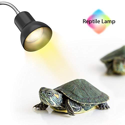 Schildkröte Wärmelampe, Wärmespotlampe für Aquarium Reptil, Basking Spot mit Halter UVA UVB mit 360° drehbarem Clip & Netzteil für Reptilien, Eidechsen, Schildkrötenschlangen Aquarium 25W