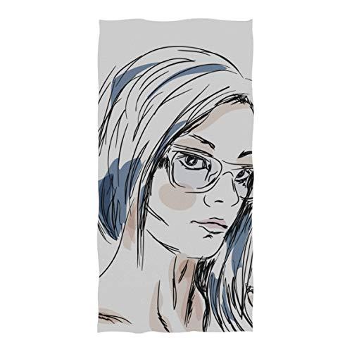 AGIRL Mikrofaser Strandtuch Schöne Frau mit Sonnenbrille Große Stranddecke Handtuch Leichtes Handtuch Für Reise Pool Schwimmen Bad Camping Yoga Gym Sport Frauen Erwachsene Übergroße 37 X 74 Zoll