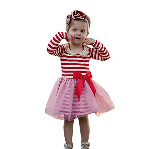 Malloom® Kleinkind Kinder Baby Mädchen Pailletten Striped Bowknot Prinzessin Tutu Kleid Kleidung (80, rot) (Stil Kleid Sophias)