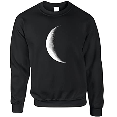 Half Moon Galaxy Space Crescent Lunar Stars Astronomy Warning Phase Moonlight Daydream Moonshine Dark Side Cool Unisex Sweatshirt Sweater Cool Birthday Gift Prese