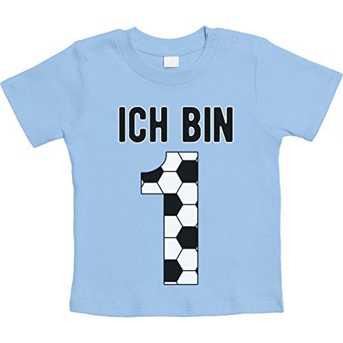 Geburtstagsshirt 1 Jahr Junge Geschenk Fußball Unisex Baby T-Shirt Gr. 66-93 6-12 Monate/76 Hellblau