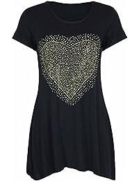 Womens Ladies New Front Diamante Heart Short Sleeve Scoop Neck Long T-Shirt Black Uneven Hem Top Plus Size