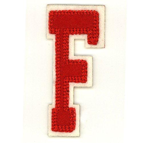 Alphabetbuchstaben nach Uniauswahl Art: rote Aufbügelapplikation Buchstabe F Denim Varsity Jacket